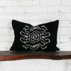 Back of Black Floral Ikat Pillow