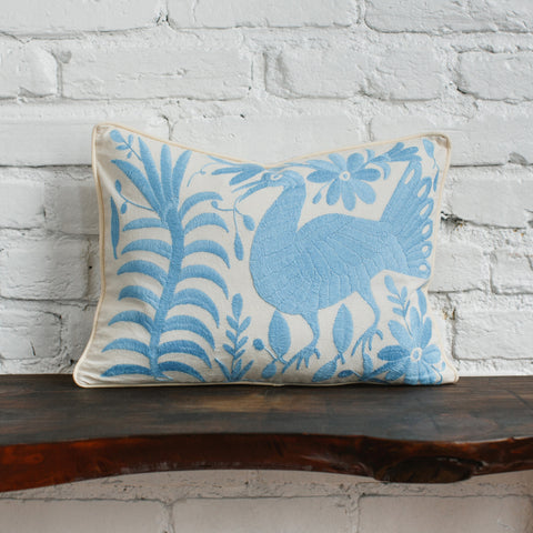 Back of Blue Otomi Pillow