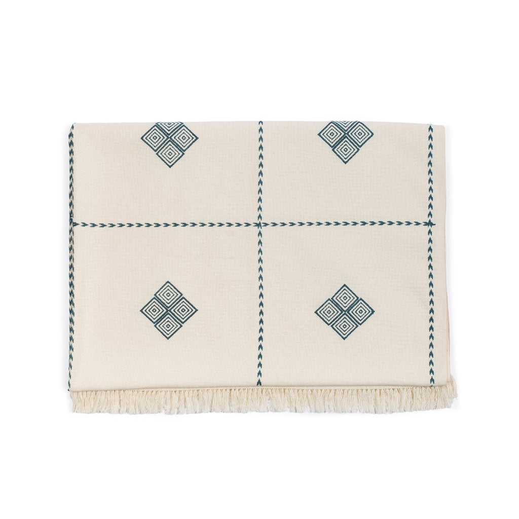 Pria Blue Embroidered Throw Blanket