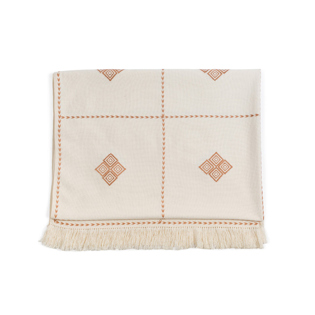 Pria Blush Embroidered Throw Blanket