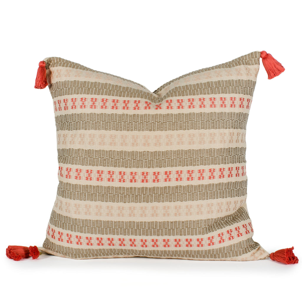 Emily Woven Tasseled Pillow Front