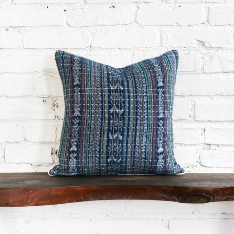 Back of Vintage Blue Woven Ikat Pillow