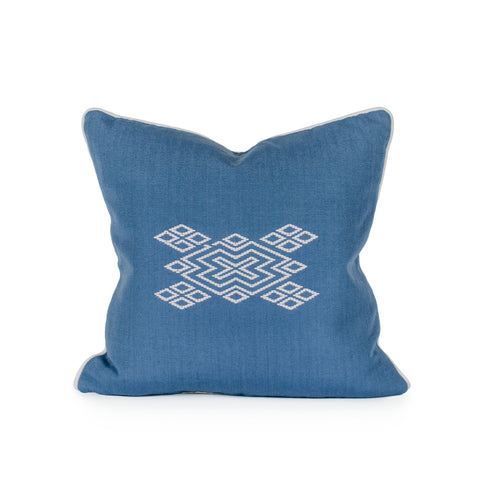 Blue Diamond Brocade Pillow