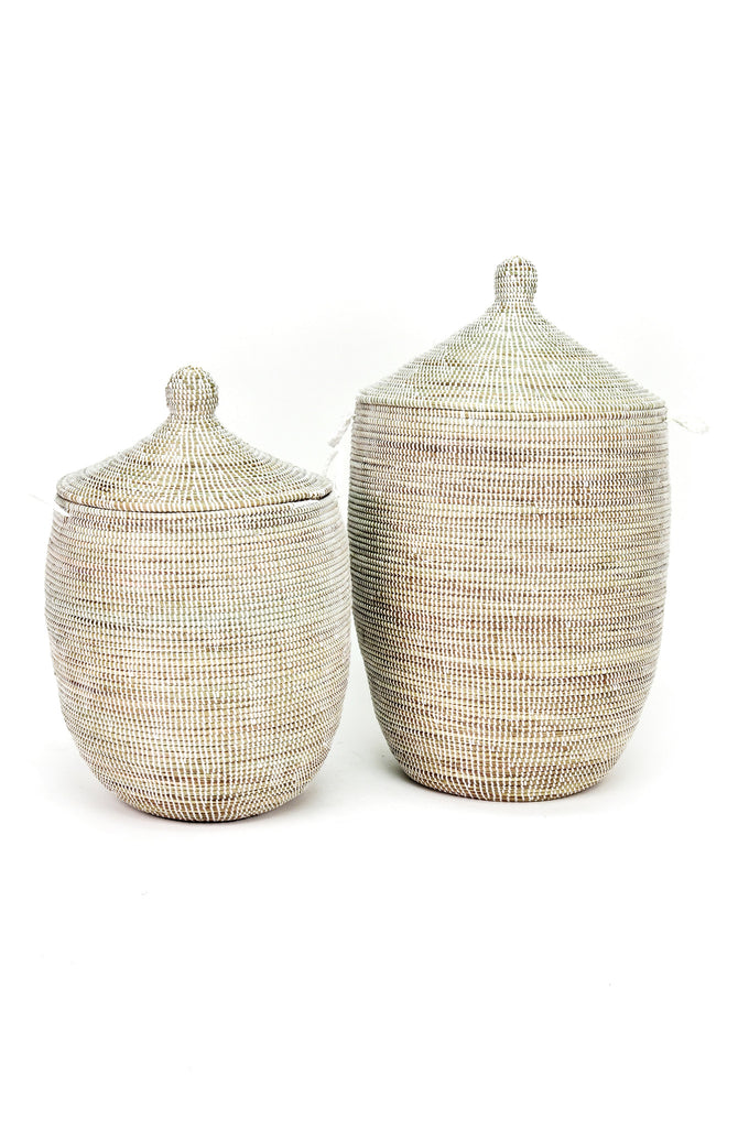 Kaia Solid White Basket Set