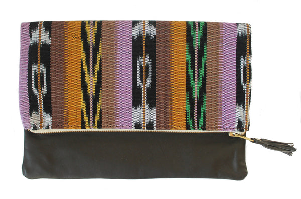 Mara Multi Ikat & Leather Clutch