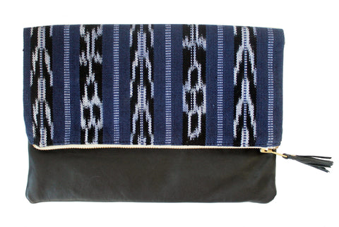 Mara Navy Blue & Ikat Leather Clutch