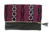 Mara Plum Ikat & Leather Clutch