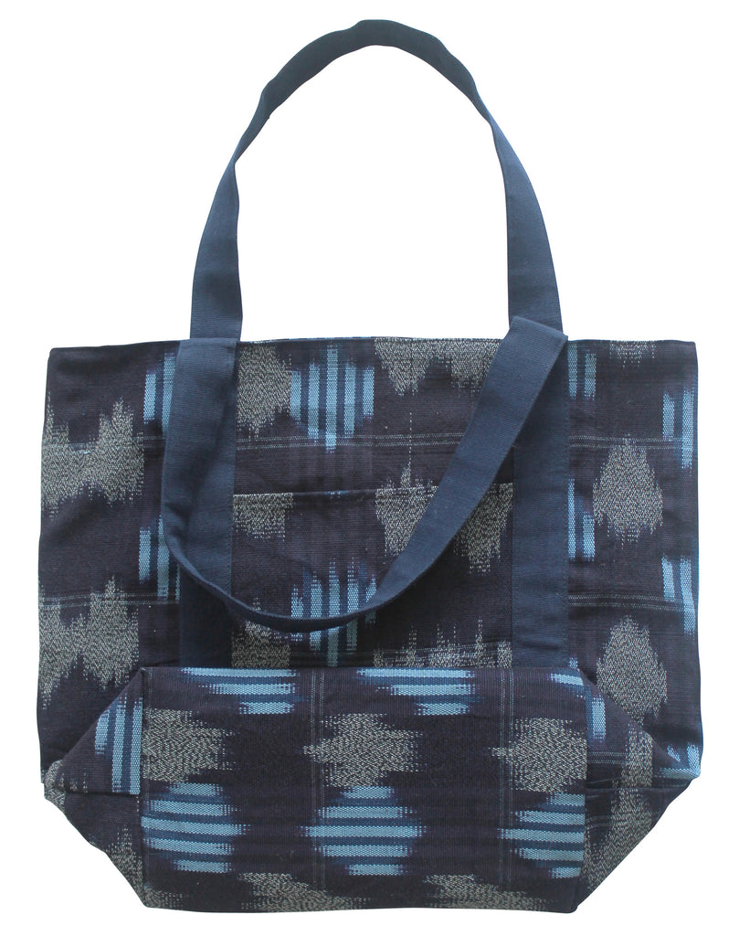 Navy Blue Woven Ikat Tote