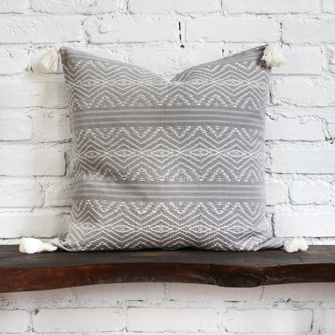 Harper Gray Woven Tasseled Pillow