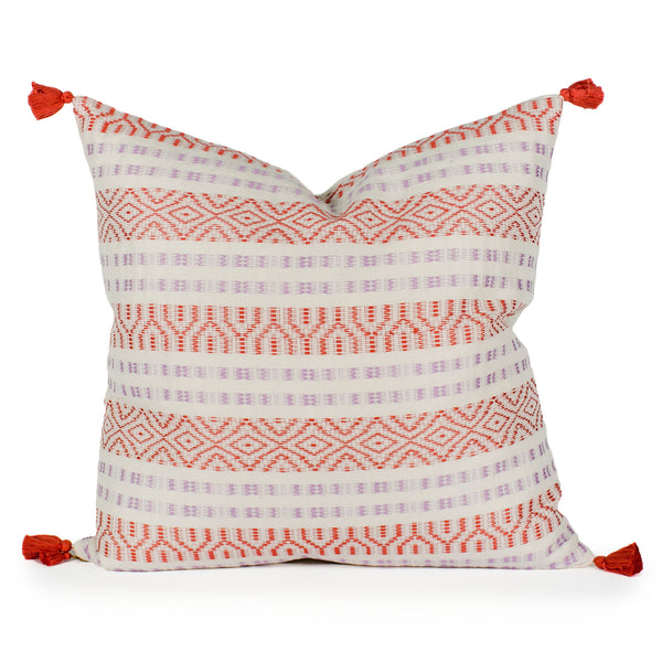 Sheila Cream Woven Tasseled Pillow Front