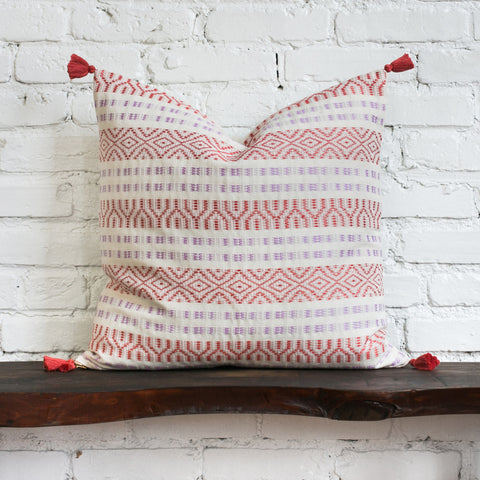 Shela Cream Woven Tasseled Pillow
