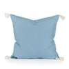 Harper Blue Woven Tasseled Pillow Back