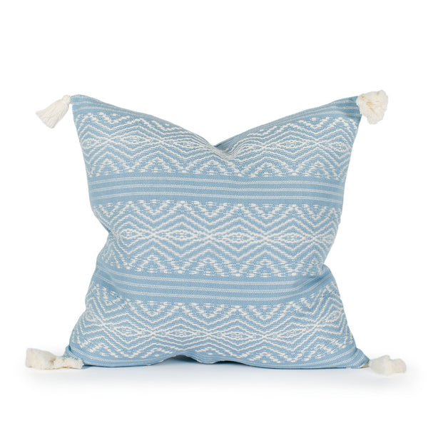Harper Blue Woven Tasseled Pillow Front
