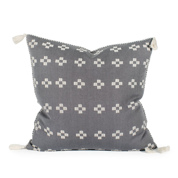 Scottie Charcoal Cross Pillow Front