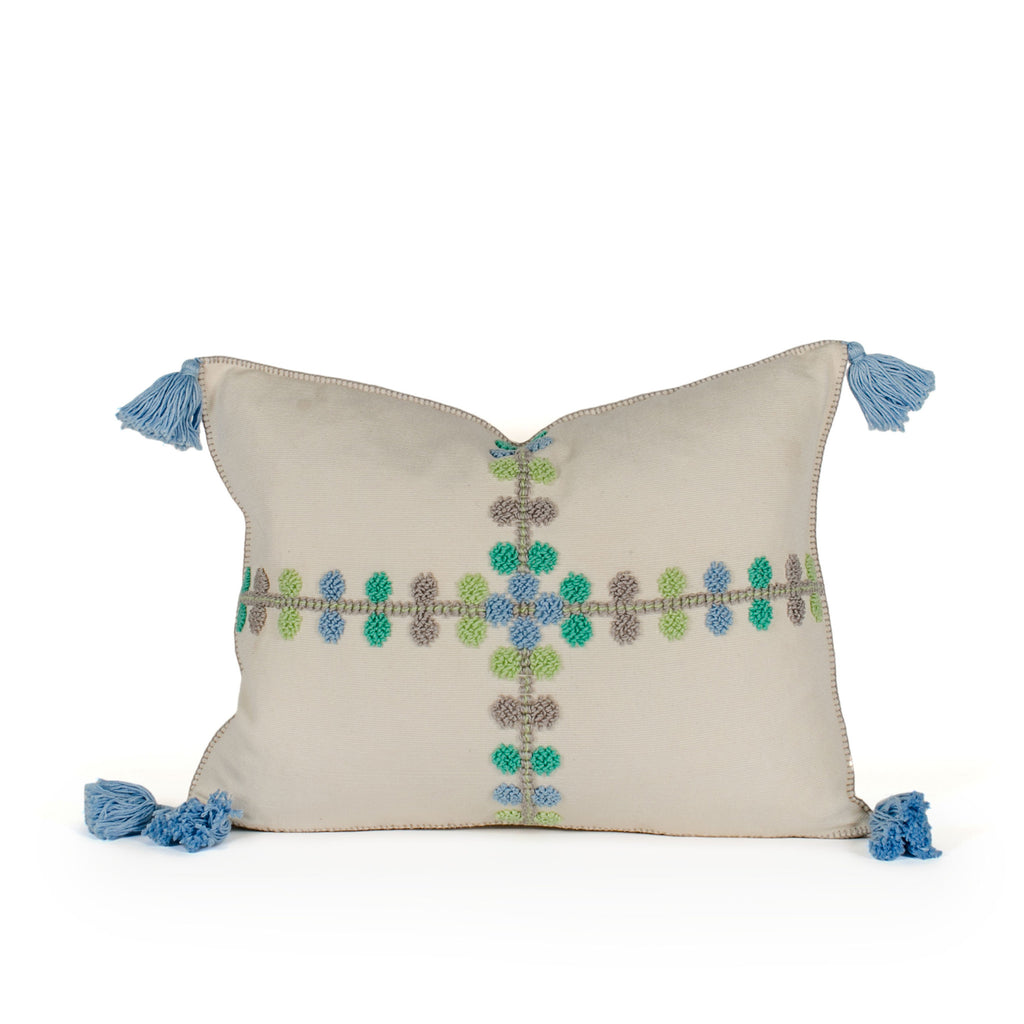 Phoebe Blue Raised Dot Pillow Front