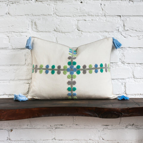Phoebe Blue Raised Dot Pillow