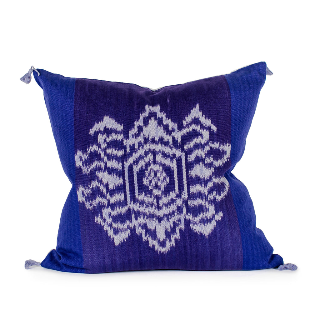 Square Purple Floral Ikat Pillow