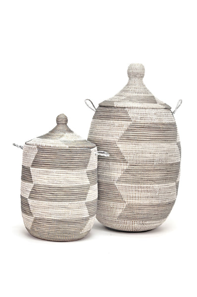 Saba White and Natural Baskets in Two Sizes