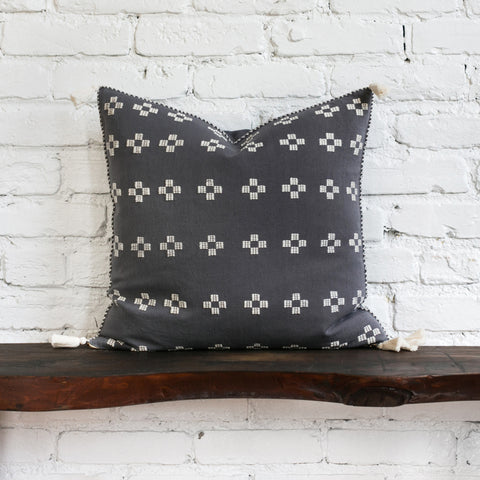 Scottie Charcoal Cross Pillow