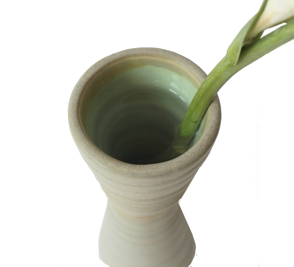 top of taupe and sea green tunnel vase
