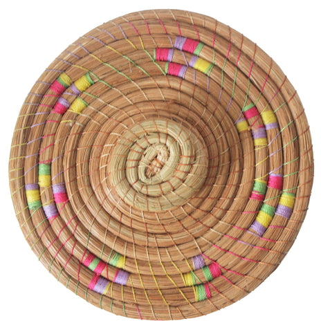 top of multi ombre thread and natural woven basket