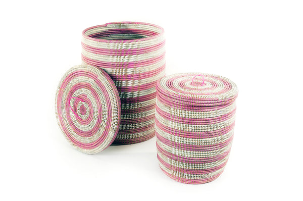 Aadi Pink Striped Basket Set