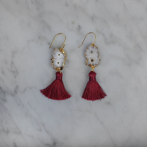 Calliope Maroon Tassel Earrings