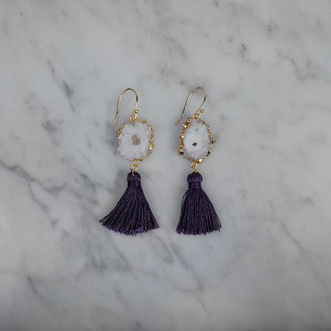 Calliope Purple Tassel Earrings
