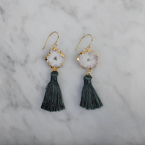 Calliope Green Tassel Earrings