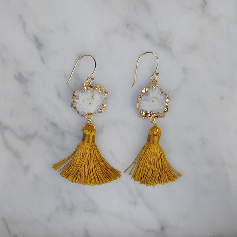 Calliope Mustard Tassel Earrings