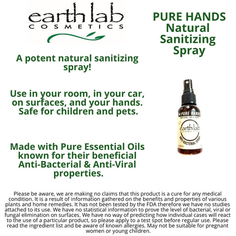 PURE HANDS  (2 Pack)  Natural  Essential Oil Germ Busting  Spray