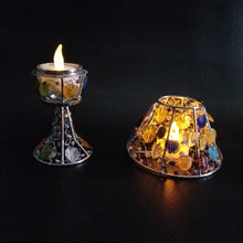 Handmade colored glass Tea Light candle holder