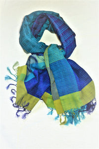Handwoven BLUE Silk Shawl - Limited Edition