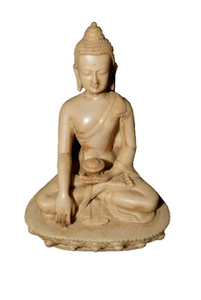 Buddha Statue Meditating on Lotus for Yoga Zen