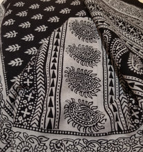 Black Paisely Design Hand Block Printed Naturally Dyed