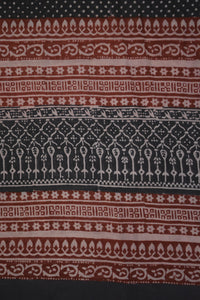 Red and Black Paisely Design Hand Block Printed Naturally Dyed Textiles