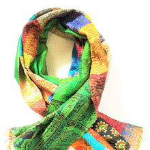 Gratitude Silk Saree Scarf - Hand Stitched Kantha Upcycled