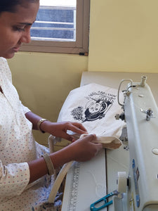 Nirvana bag by OMSutra stitched by the women of Nivedita training center
