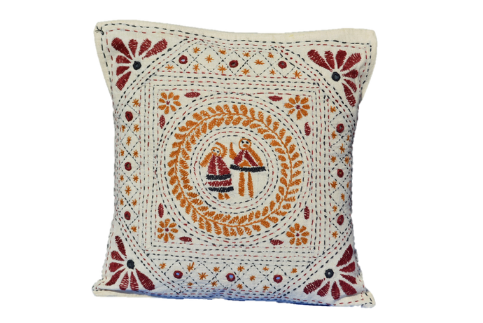 Hand Embroidered Artisanal Decorative Mirror work Pillow