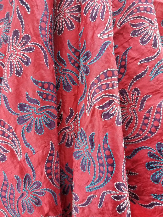 Hand embroidered Silk Fabric from Artisans in India