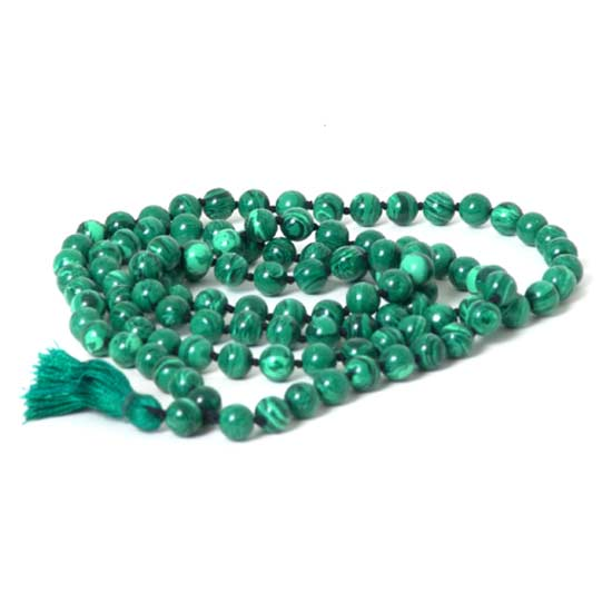 108 Malachite Mala Beads Necklace -  Japa Mala - Japa Neklace - Tassel Necklace