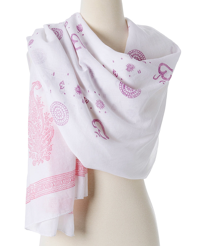 Om Shanti Meditation Yoga Prayer paisley design cotton shawl