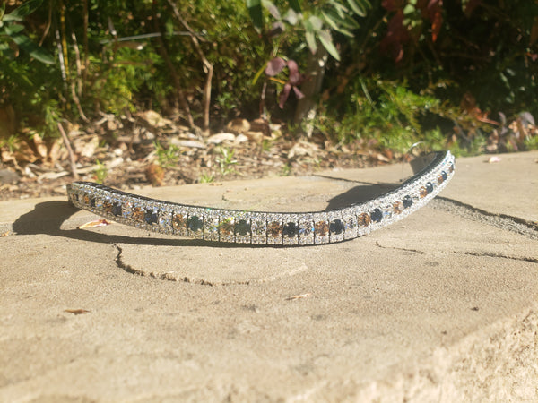 Montana blue, light colorado and clear alternating Equiture full size browband