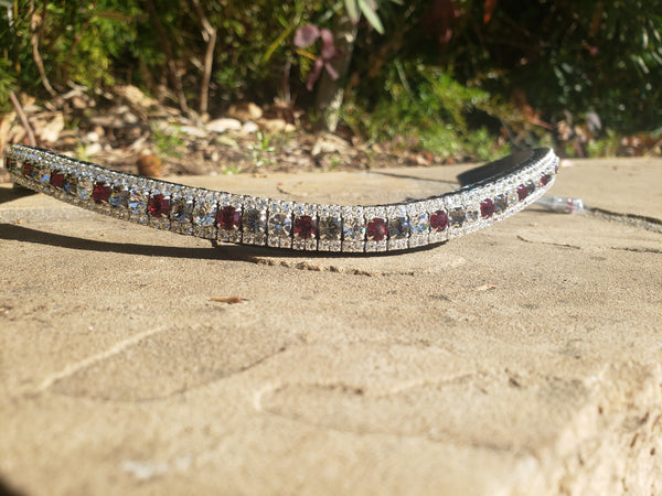 Ruby, black diamond and clear Cob and Full size Equiture browband