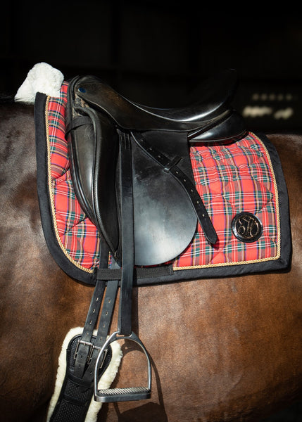 Red plaid Christmas saddle pad cob size