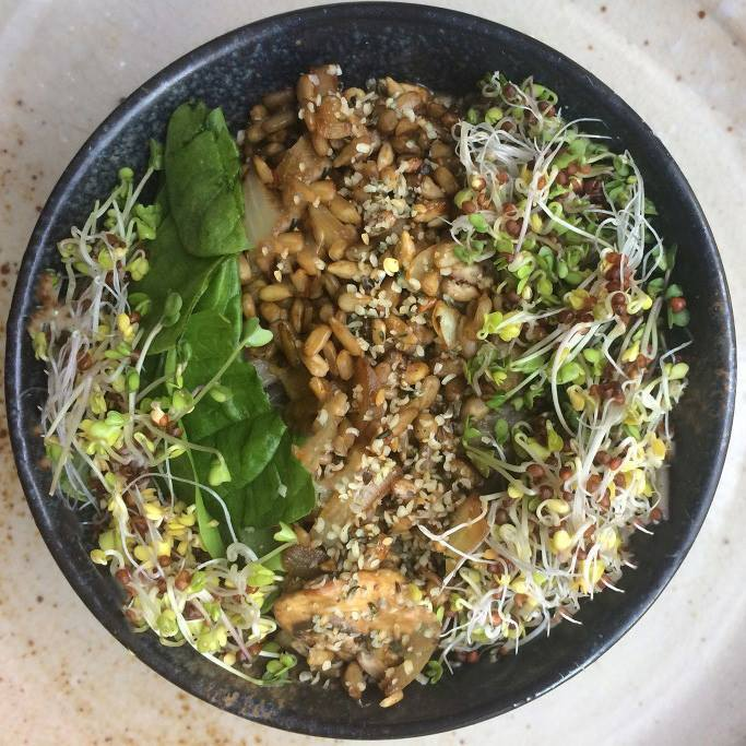 Broccoli sprouts, mushrooms and soba noodles bowl