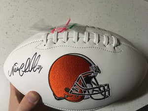 NICK CHUBB SIGNED CLEVELAND BROWNS LOGO FOOTBALL - JSA COA