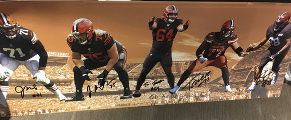 CLEVELAND BROWNS STARTING 5 LINEMAN 10X28 PANORAMIC SIGNED PHOTO - PLAYBALL INK COA