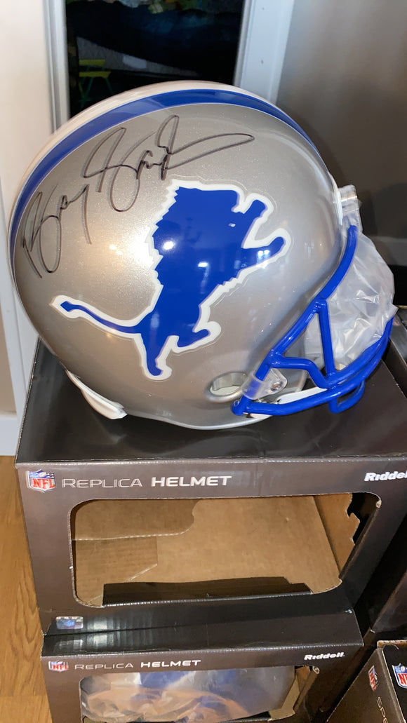 BARRY SANDERS AUTOGRAPHED LIONS FULL SIZE REPLICA HELMET