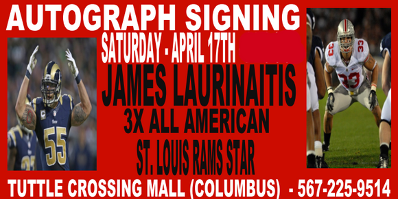 JAMES LAURINAITIS  INSCRIPTION TICKET - 4/17 - TUTTLE STORE   (IN STORE- MAIL INS OR DROP OFFS)